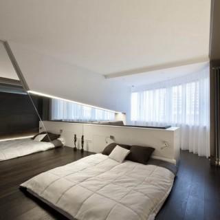 Ультра-современная спальня Ольги и Евгения. Шторы из тюля и покрывало с отстрочкой.