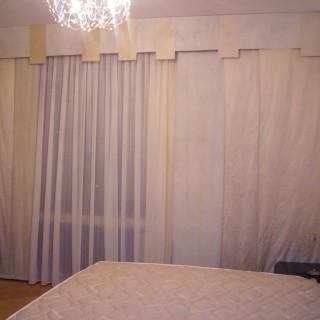Ламбрекен на жестком бандо. Японские панели. Спальня Сергея.