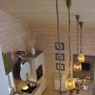 Римская штора и текстиль на потолок для светильников. Объединенное пространство столовой, гостиной и кухни. Для Екатерины и Павла.