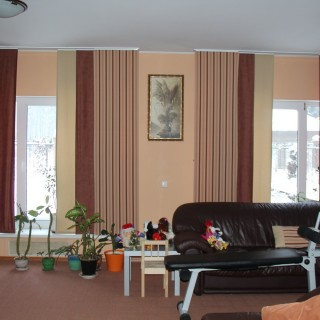Японские шторы на окна в гостиной.